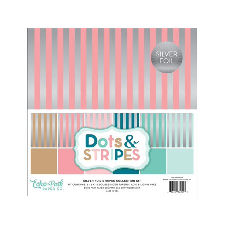 Choose Colored Foils - Echo Park Dots&Stripes Slv Foil St Paper 12x12 CK