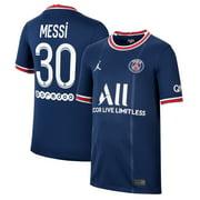 Lionel Messi Paris Saint-Germain Jordan Brand Youth 2021/22 Home Breathe Stadium Replica Player Jersey - Blue