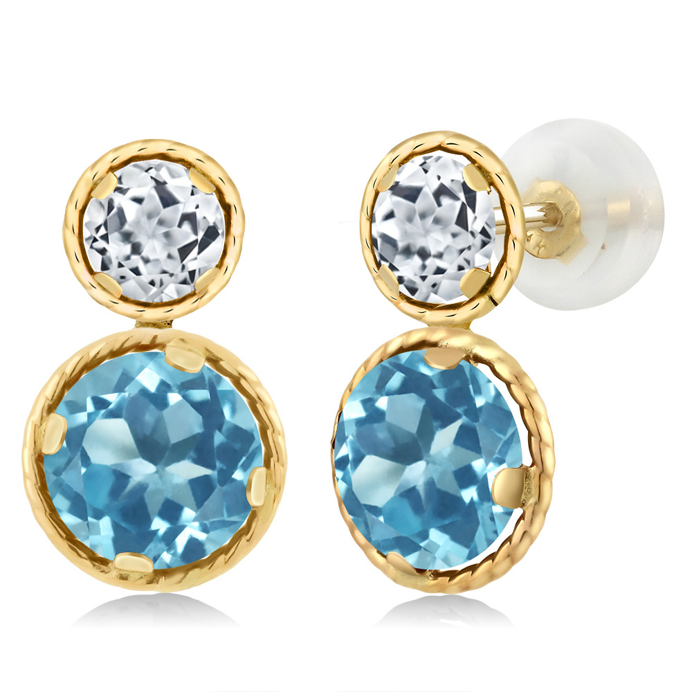 4.30 Ct Round Swiss Blue Topaz White Topaz 14K Yellow Gold Earrings by