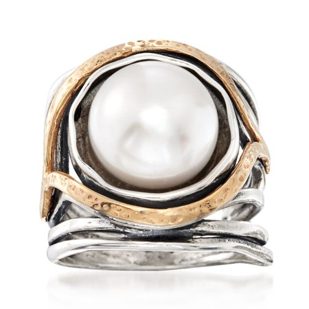 Ross-Simons 11.5-12mm Cultured Pearl Openwork Ring in Sterling Silver and 14kt Yellow Gold Silver June Birthstone Ring