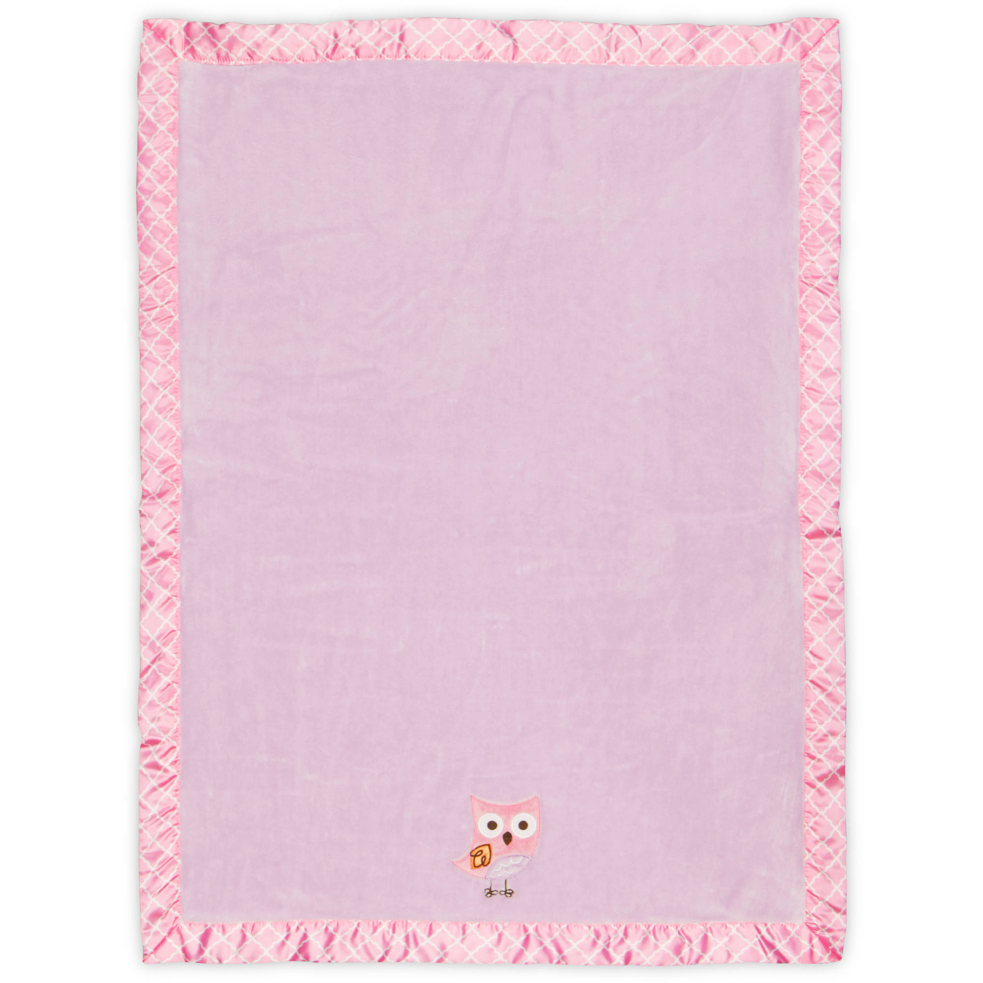 Bananafish Studio Sweet Owl Girl Silky Coral Plush Blanket