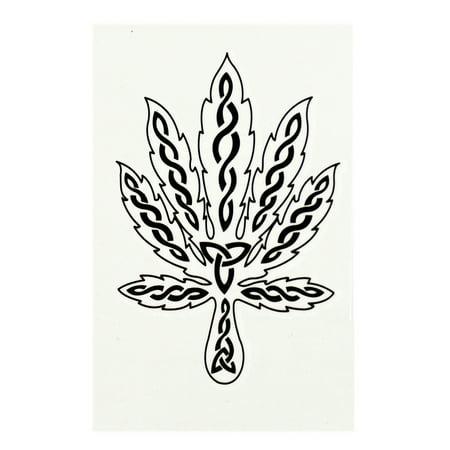 Symbol Tattoo - Marijuana Leaf Marked With Triquetra Symbols Temporary Tattoo