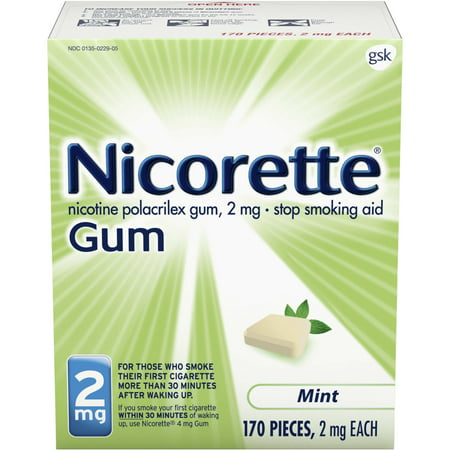 Nicorette Nicotine Gum to Stop Smoking, 2mg, Mint, 170 Count
