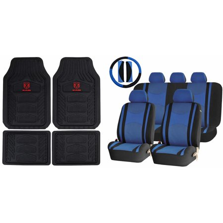 Dodge RAM All Weather Pro Heavy Duty Rubber Front Rear Floor Mats & Blue/Black Mesh Seat Covers Steering Set