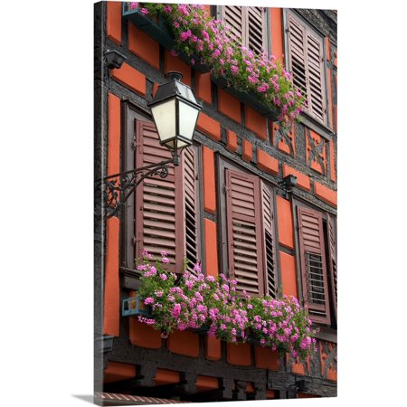 Great BIG Canvas | David R. Frazier Premium Thick-Wrap Canvas entitled Red building with shuttered windows and flower boxes, Ribeauville,