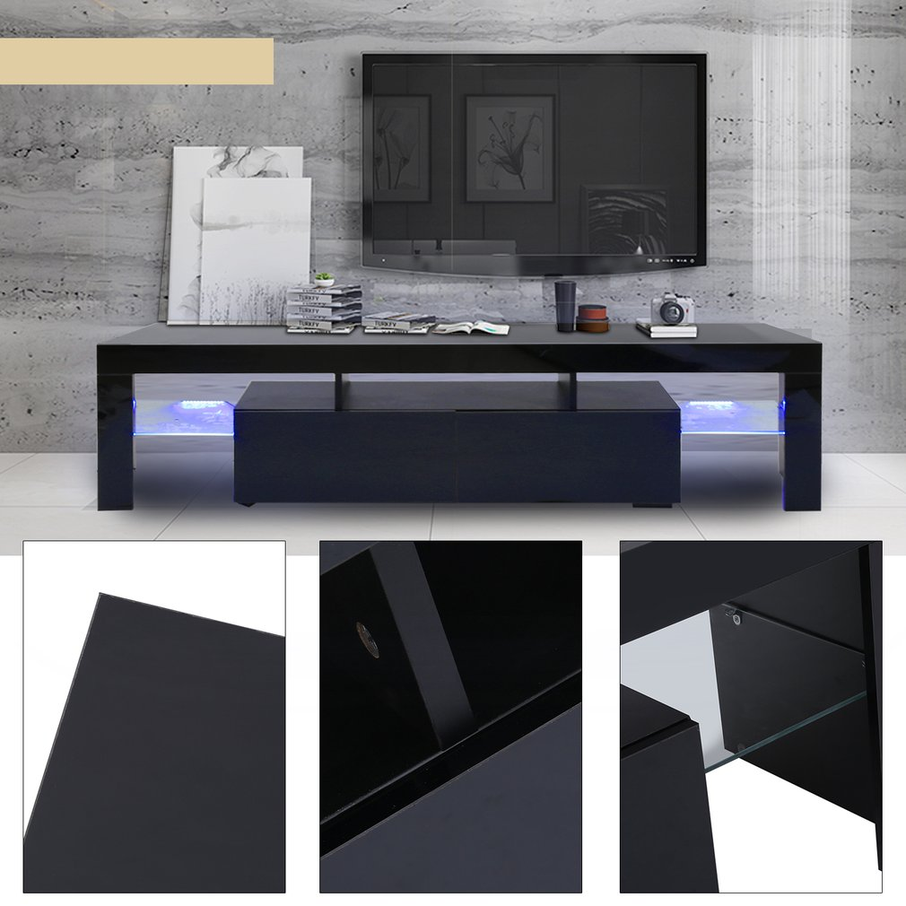 OUTAD Modern LED TV Stand With 2 Drawers Console Stylish Contempory TV Unit  Cabinet, Black