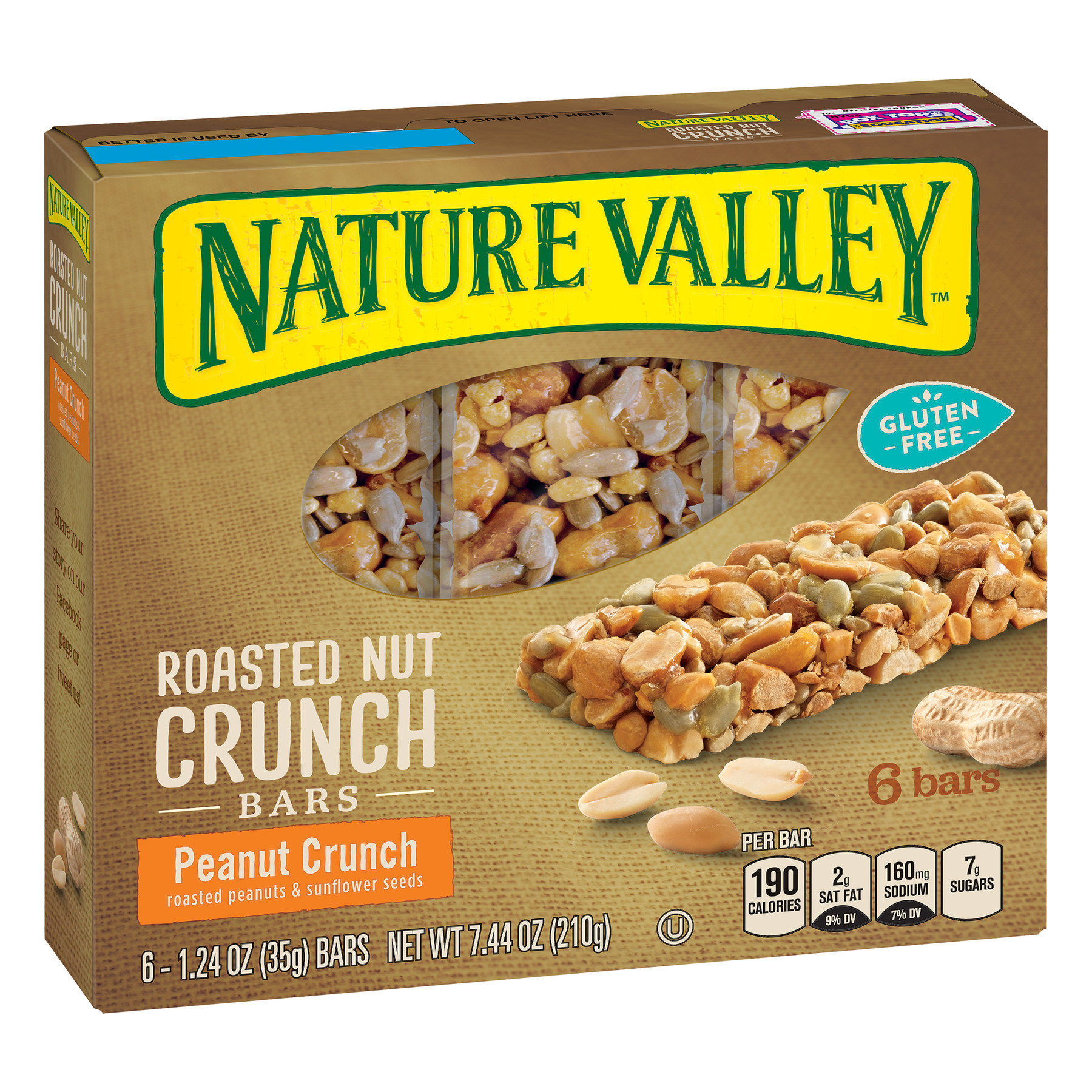 (2 Pack) Nature Valley Granola Bars Roasted Nut Crunch Peanut Crunch 6 Bars