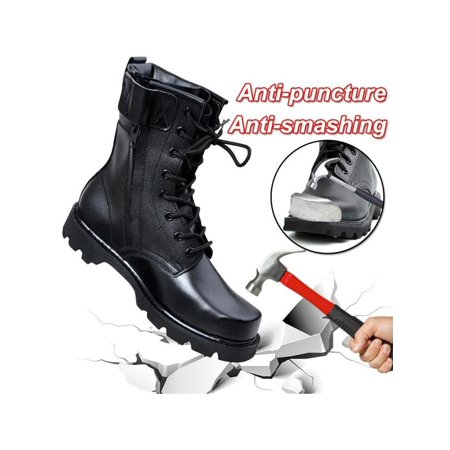 Men Military Boots Solid Lace Up Tactical Boots Leather High Top Men Boots (High Top Boots)