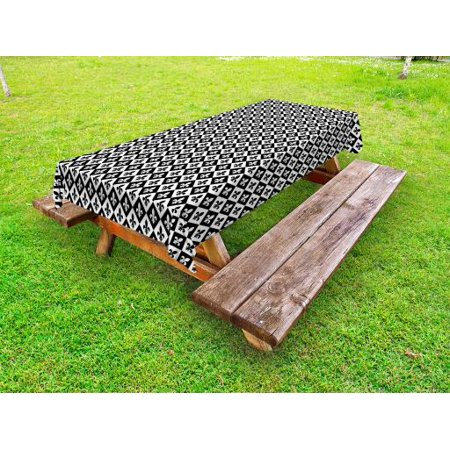 Fleur De Lis Outdoor Tablecloth, Checkerboard Pattern Rectangles European Heraldic Design Monochrome Emblem, Decorative Washable Fabric Picnic Table Cloth, 58 X 84 Inches,Black White, by Ambesonne