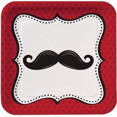 Mustache Madness 9-inch Deep Dish Plates , 2PK (Mustache Plates)