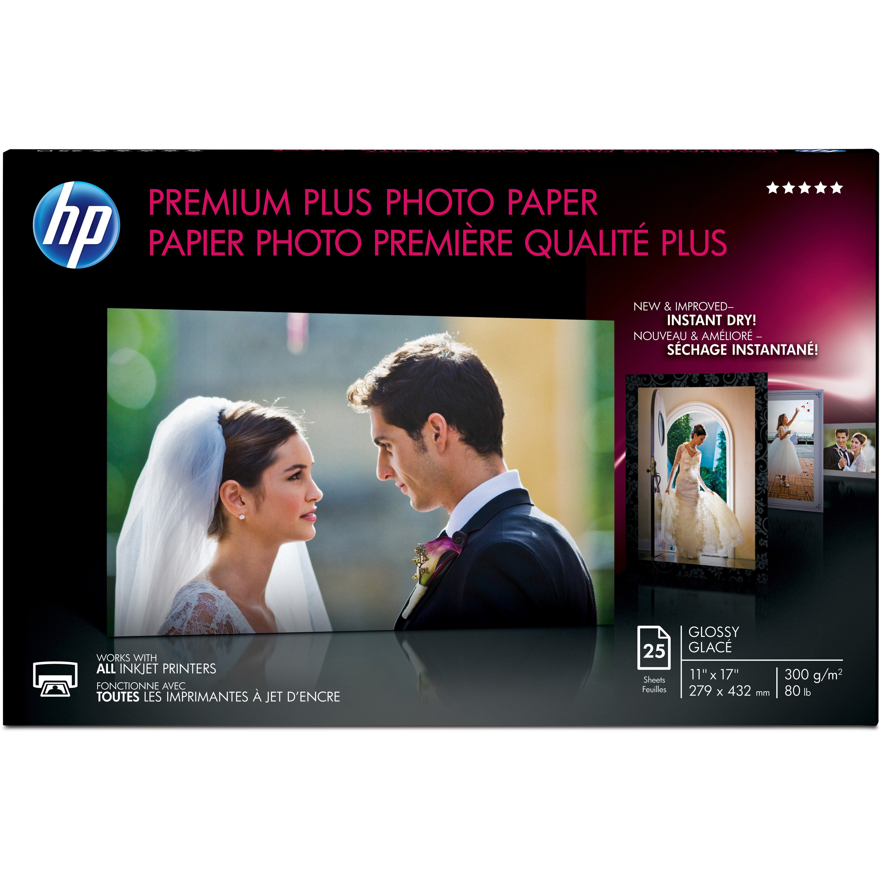 HP Premium Plus Inkjet Print Photo Paper, White, 25 / Pack (Quantity)