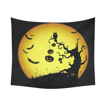 GCKG Night Tree Owl Bat Pumpkin Full Moon Happy Halloween Tapestry Wall Hanging Yellow and Black Sketch Wall Decor Art for Living Room Bedroom Dorm Cotton Linen Decoration 51 x - Happy Tree Friends Halloween Full Movie