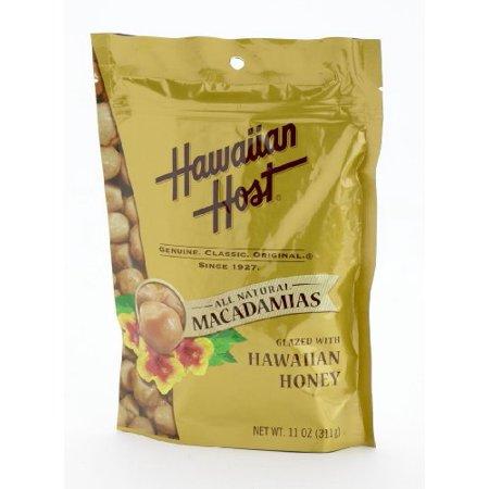 Hawaiian Host MACADAMIA NUTS - Hawaiian Honey Glazed Macadamias, LARGE 11 oz (Resealable Bag)