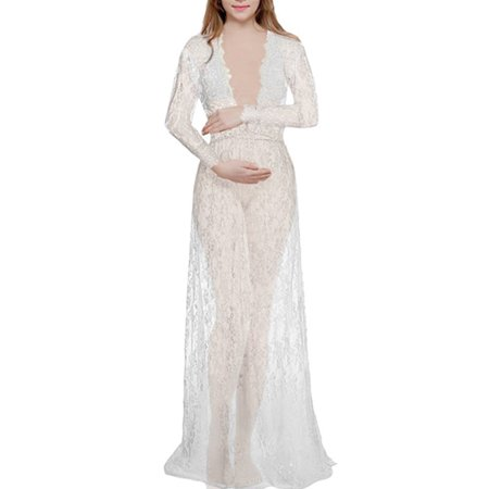 150d76f7f64a8 UKAP - Fashion Pregnant Women's Deep V-neck Lace Sexy See-Through Mesh  Maternity Dress Maxi Long Photography Photo Clothes Long Sleeve Dresses -  Walmart.com