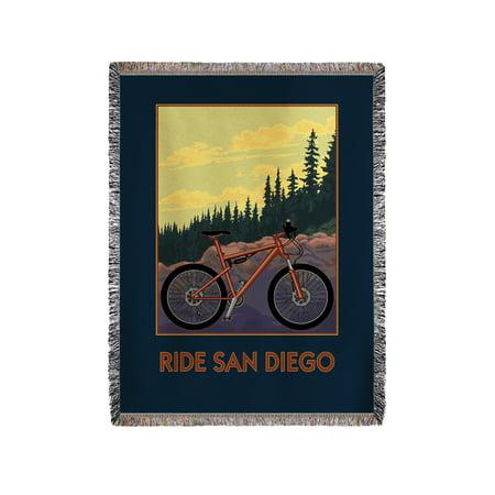 Ride San Diego - Mountain Bike Scene - Lantern Press Artwork (60x80 Woven Chenille Yarn