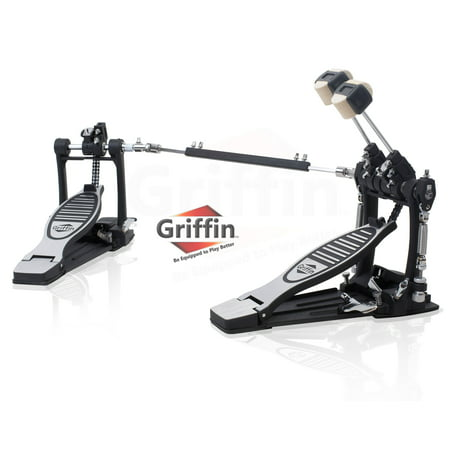 Double Kick Drum Pedal for Bass Drum by Griffin Twin Set Foot Pedal Quad Sided Beater Heads Dual Pedal Double Chain Drive Percussion Hardware Impressive Response for Metal and Rock Drummers
