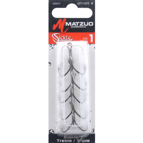 Matzuo Sickle Treble Hook, Black Chrome