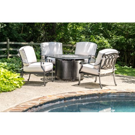 Alfresco Home Bellagio 48u0022 Round Cast Aluminum Gas Fire Pit/Chat Table with Glacier Ice Firebeads