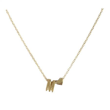 Floating Letter M Initial & Heart Mini Pendant Necklace, (2773ap Lombard Mini Pendant)