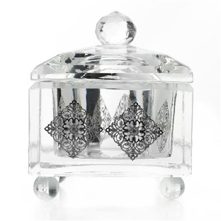 Crystal Cove Crystals (Shonfeld Crystal 13497 Crystal Bowl with Cover with Silver Filigree Cubes - 2.25 x 2.25 in. )