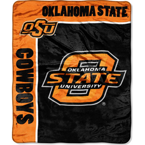 "NCAA School Spirit 50"" x 60"" Royal Plush Raschel Throw, Oklahoma State"