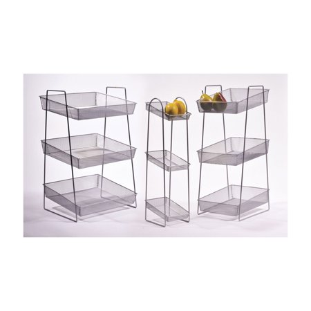POP Silver 6 Inch x 8 Inch Silver Mesh 3 Tier Wire Basket Stand 24.5 Inch tall ()