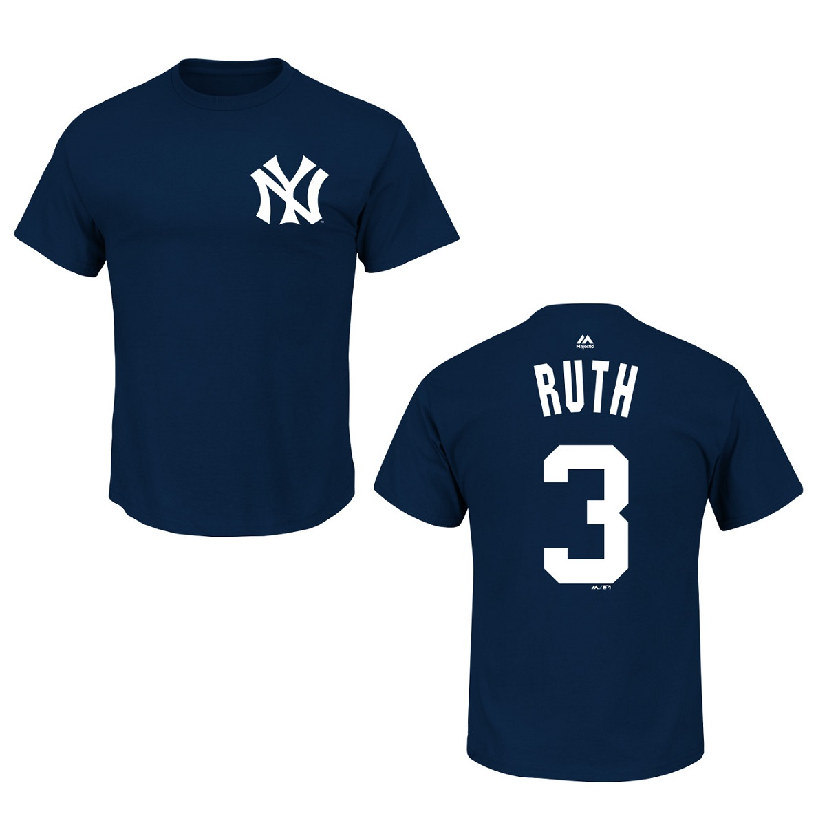 New York Yankees Babe Ruth Navy Blue Name and Number T-Shirt (M)