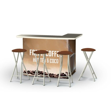 Best of Times 2002W2511 Coffee Bar Portable Bar & Matching Bar Stools, Brown