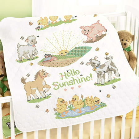 Herrschners® Pre-Quilted Hello Sunshine Baby Quilt Stamped Cross-Stitch Kit