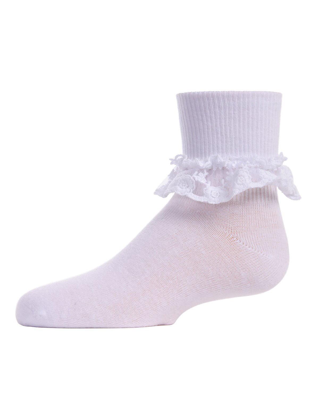 MeMoi Little Girl Socks with Ruffles | Girls Ruffle Socks by MeMoi 8 / Ivory MK 5060