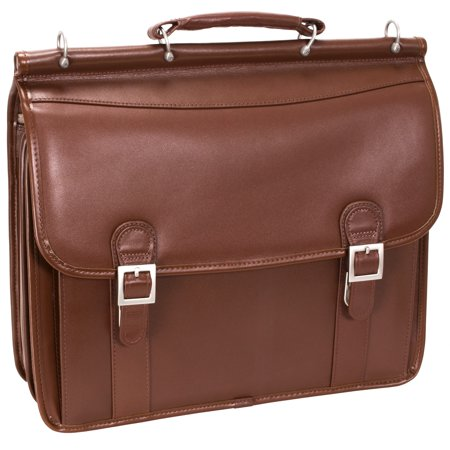 - McKlein HALSTED, Double Compartment Laptop Briefcase, Top Grain Cowhide Leather, Brown (80334)