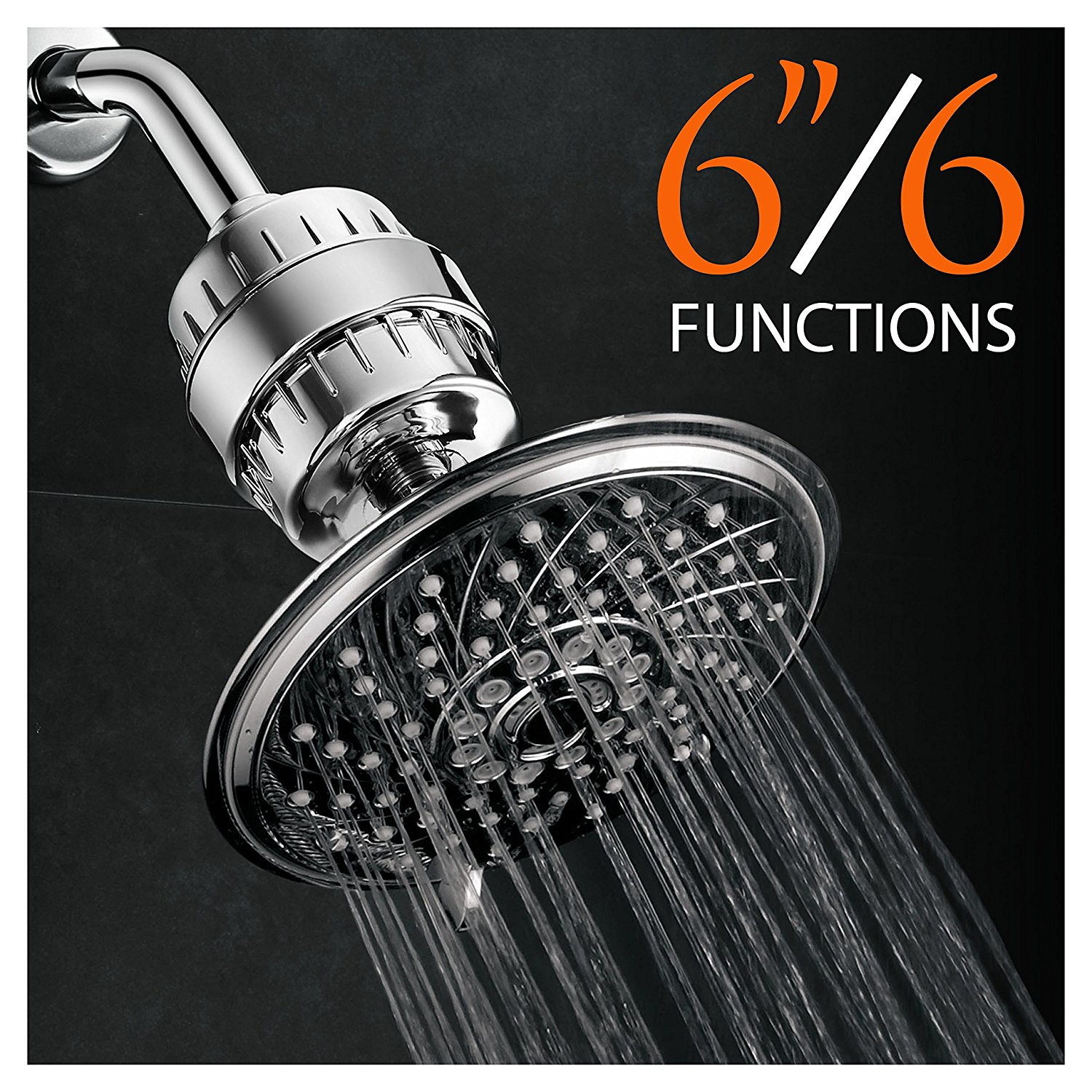 HotelSpa® Ultra-Luxury 6-Setting 6-inch Rainfall Shower Head and ...
