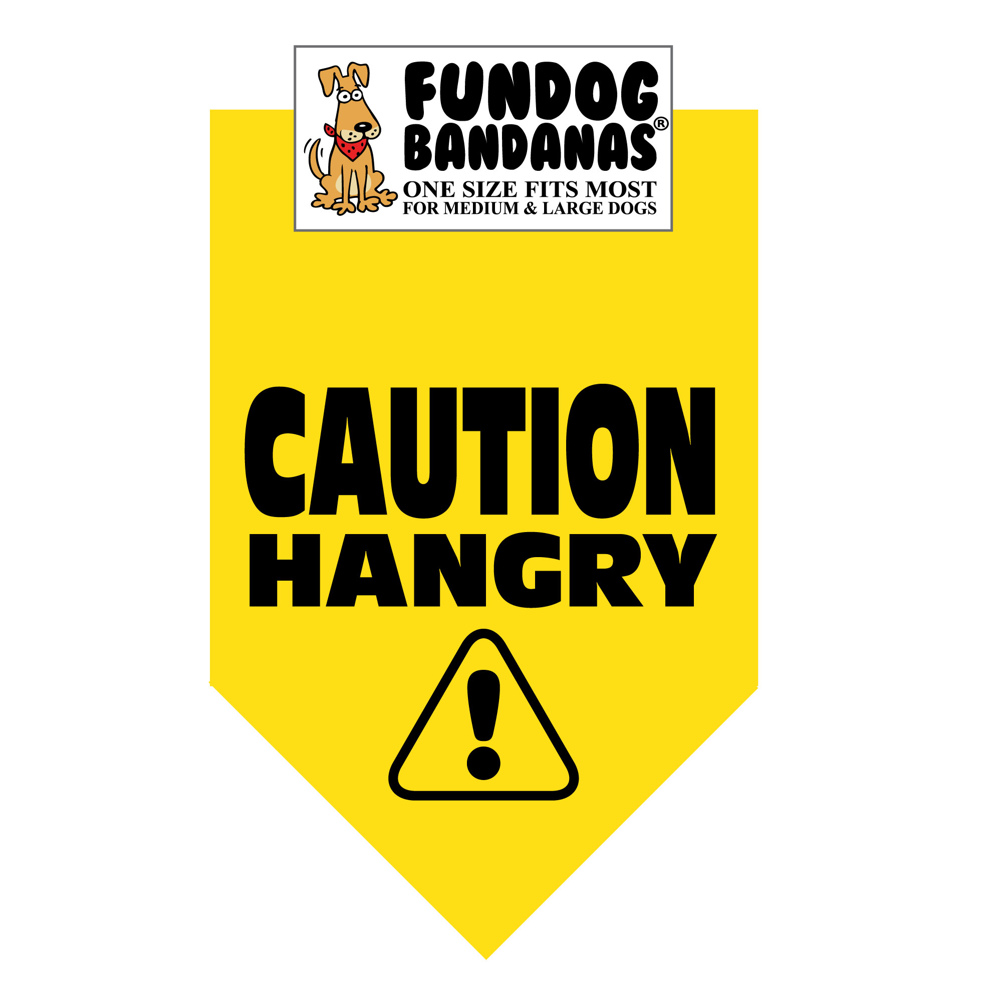 Fun Dog Bandana - Caution HANGRY - One Size Fits Most for Medium to Large Dogs, gold pet scarf