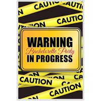 Warning Party in Progress Bachelorette Party Banner