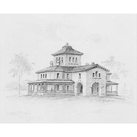 Samuel F B Morse House Poughkeepsie New York  Perspective And Plan  Poster Print By Alexander Jackson Davis  18 X 24