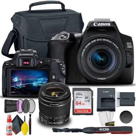Canon EOS 250D / Rebel SL3 DSLR Camera with 18-55mm Lens (Black) + Creative Filter Set, EOS Camera Bag + Sandisk Ultra 64GB Card + Electronics Cleaning Set, And More (International Model)