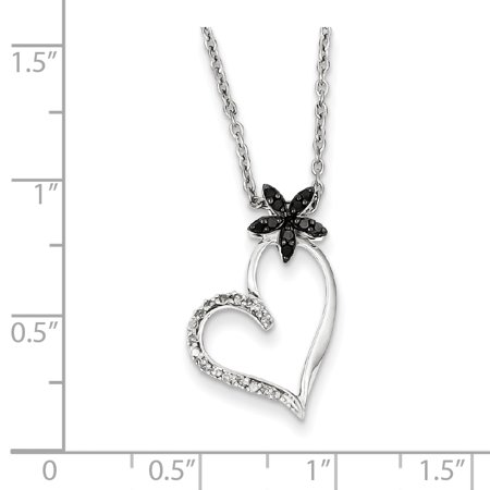 439f699063985 Sterling Silver Rhodium Plated Black & White Diamond Heart Pendant QP3748  (23mm x 14mm)