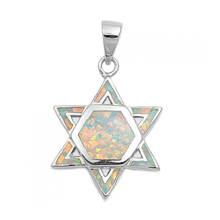 925 Sterling Silver Star of David Pendant With Lab opal Gem Lab Square Pendant