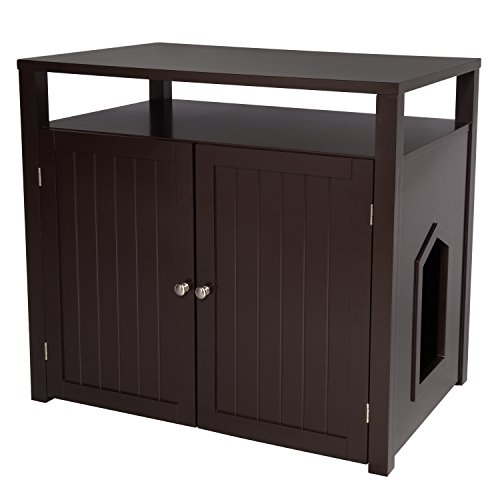 Arf Pets Cat Litter Box Enclosure, Furniture Large Box House With Table    Walmart.com