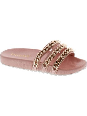 f635bbf8662 Product Image Liliana Nomi-2 Women Flip Flop Gold Chain Link Slide Slip On  Flat Sandal Shoe