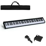Gymax 88 Key Digital Piano Recital MIDI Keyboard w/Bluetooth White Black