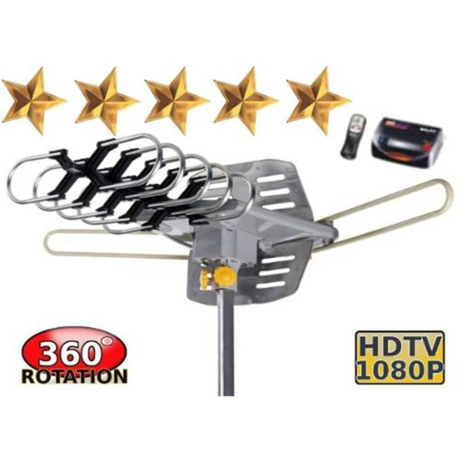 BoostWaves WA-2608 Amplified HD Digital Outdoor HDTV Antenna with Motorized 360 Degree Rotation ...