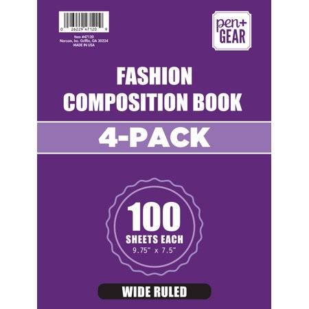 4 Pack Pen+Gear Fashion Wide Ruled Composition Book ()