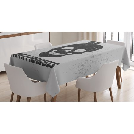 I am a Princess Tablecloth, Skull with a Crown Skeleton Halloween Theme Grunge Look, Rectangular Table Cover for Dining Room Kitchen, 60 X 84 Inches, Charcoal Grey and Pale Grey, - Nfl Am Halloween Show