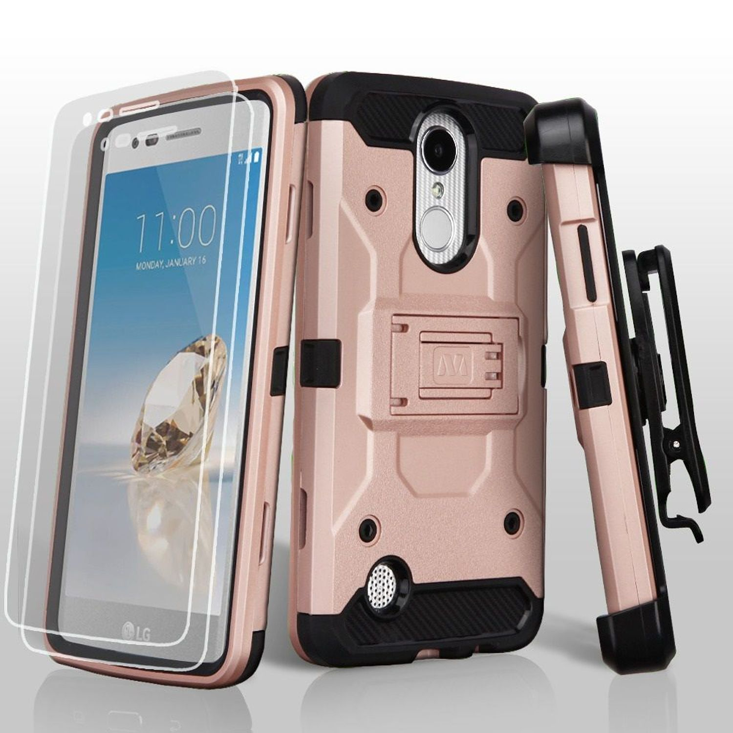 LG Aristo phone case, LG K8 2017 phone case, LG K4 2017 phone case, by Insten Dual Layer [Shock Absorbing] Hybrid Hard/Soft TPU Case Bundled For LG Aristo/Fortune/K4 (2017)/K8 (2017)/LV3/Phoenix 3