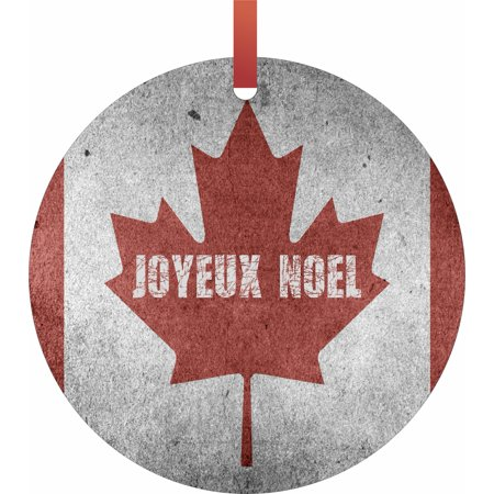 Canada Flag - Joyeux Noel Hanging Round Shaped Tree Ornament - (Flat) - Holiday Christmas - Tm - Made in the (Canadian Ornaments)