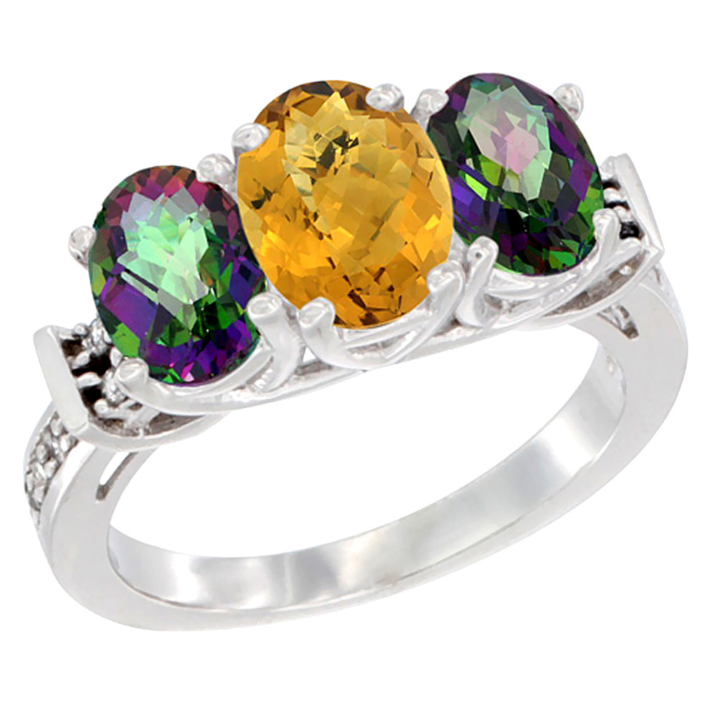 10K White Gold Natural Whisky Quartz & Mystic Topaz Sides Ring 3-Stone Oval Diamond Accent, sizes 5 10 by WorldJewels