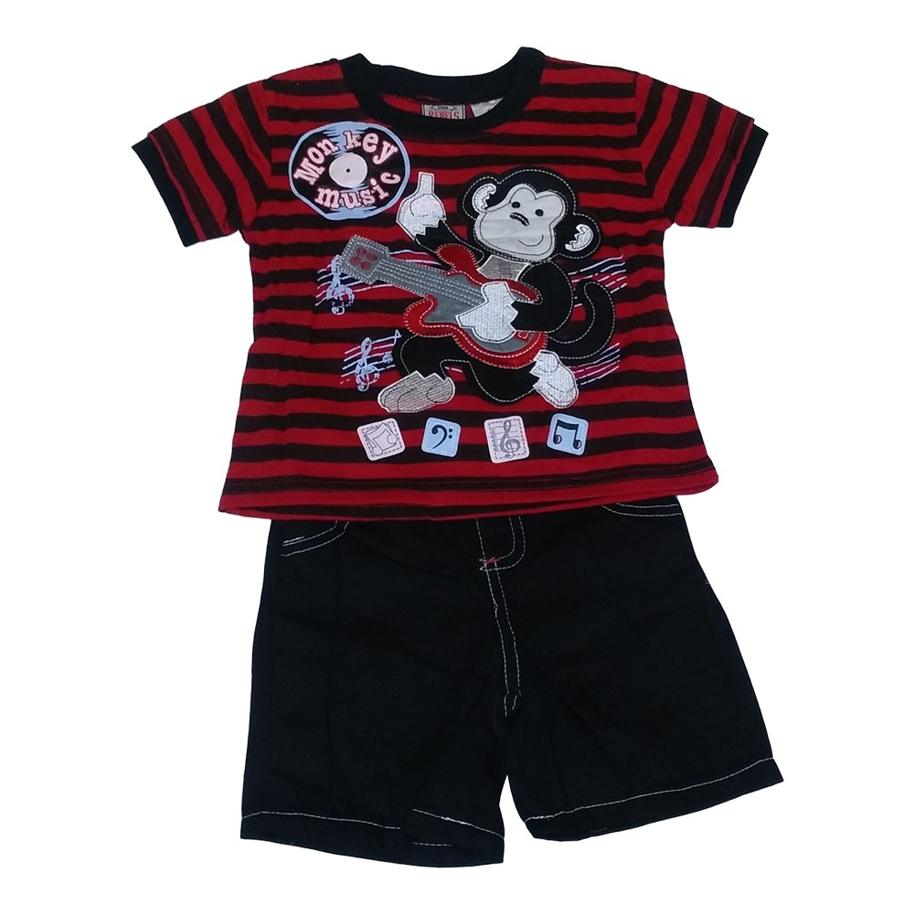 American Character Little Boys Red Black Stripe Monkey Tee Shorts Outfit 2-4T