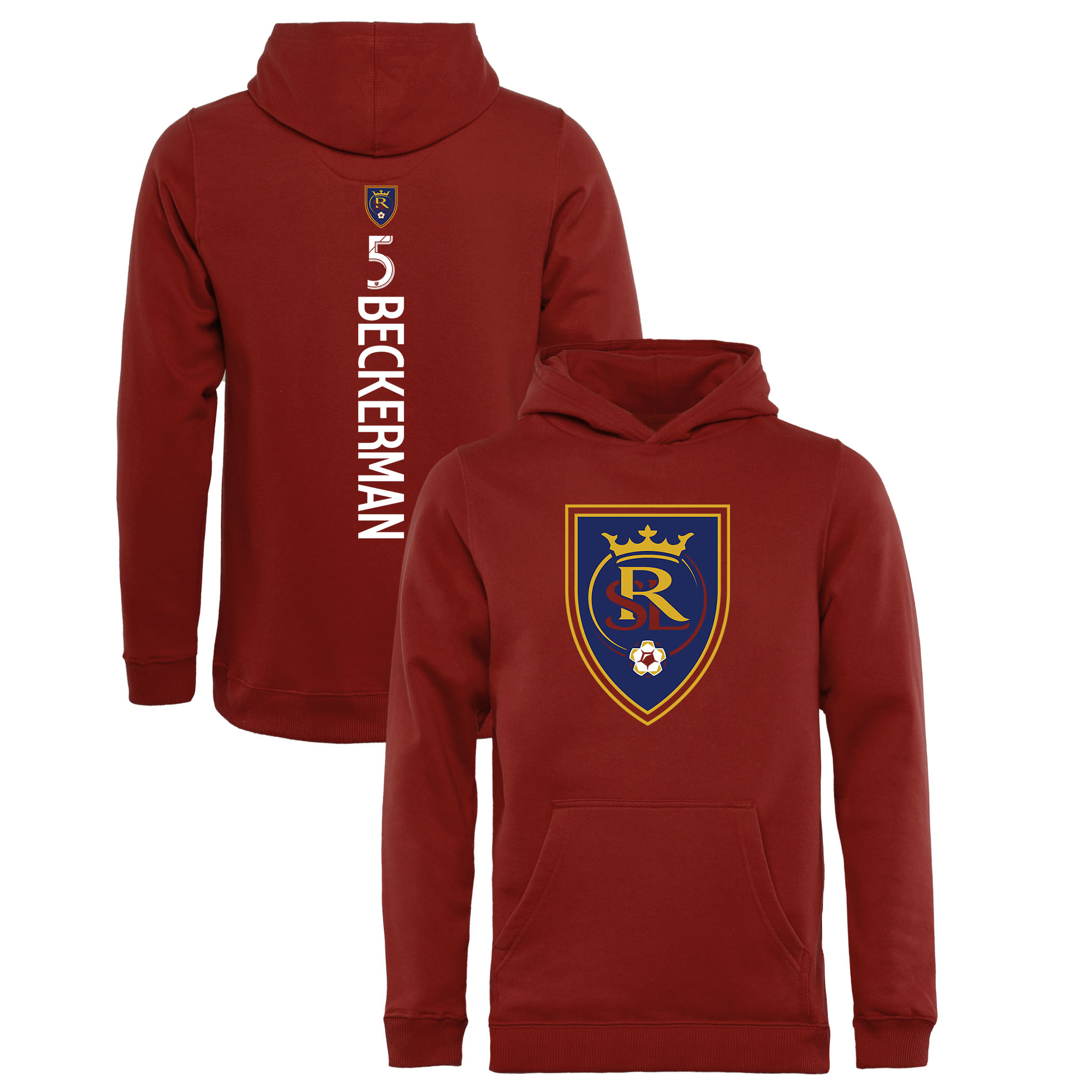 Kyle Beckerman Real Salt Lake Fanatics Branded Youth Backer Name & Number Pullover Hoodie - Red