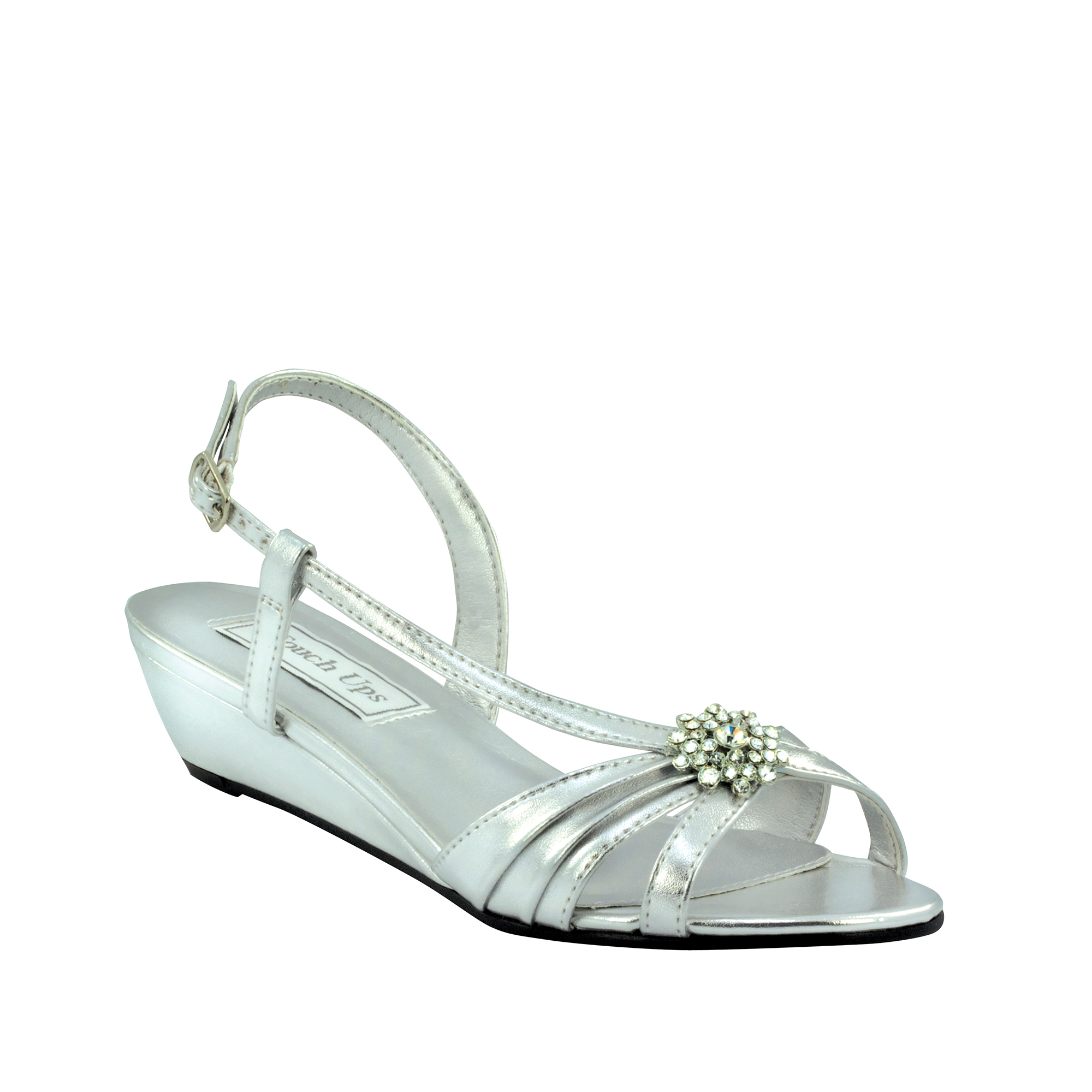 Touch Ups Womens Geri Manmade Wedge Sandal,Silver Metallic,11 W US